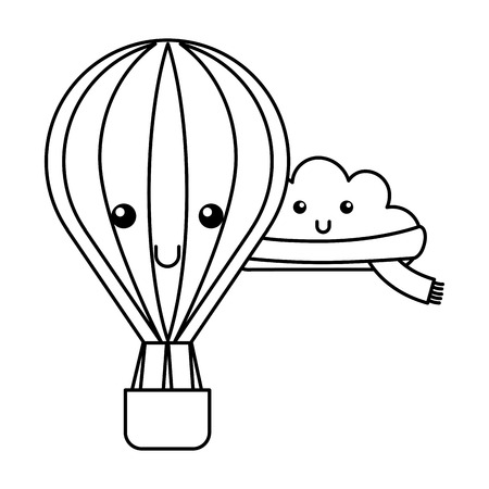 kawaii cloud with scarf and hot air balloon cartoon vector illustration