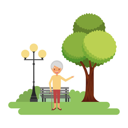 happy grandmother in the park vector illustration