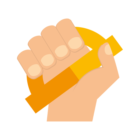 hand holding protractor supply education vector illustration Vetores