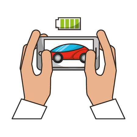 hands with mobile battery autonomous car transport vector illustration