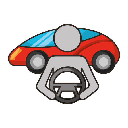 autonomous car transport driver steering wheel vector illustration