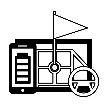 autonomous car transport mobile map marker vector illustration  イラスト・ベクター素材