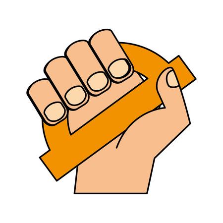 hand holding protractor supply education vector illustration Illustration