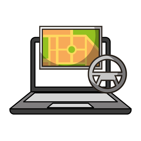 autonomous car transport laptop map navigation vector illustration Imagens - 112882764