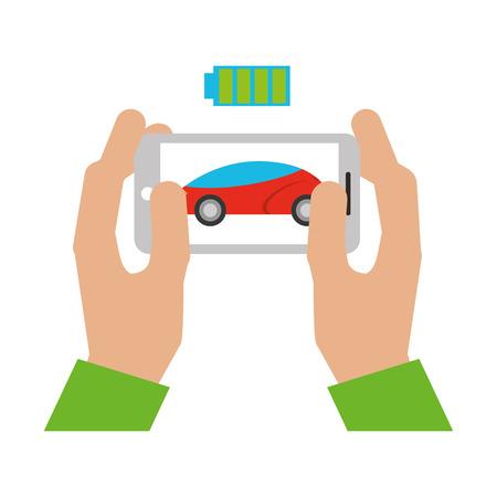 handen met mobiele batterij autonoom autotransport vectorillustratie