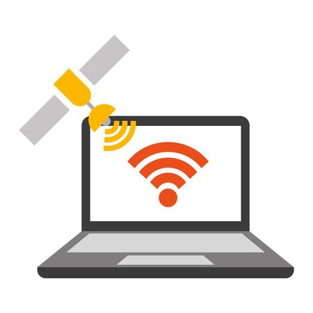 laptop satellite connection internet wifi vector illustration