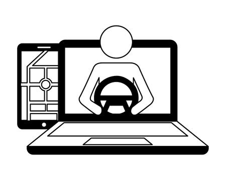 autonomous car transport laptop mobile driver vector illustration