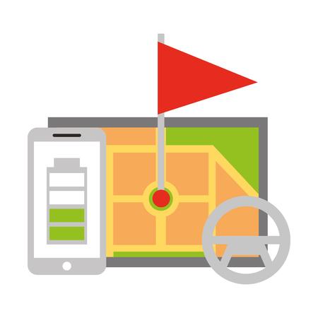 autonomous car transport mobile map marker vector illustration Illustration