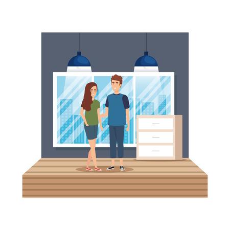 business couple in the workplace vector illustration design Reklamní fotografie - 112953808