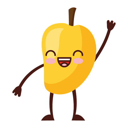 cute mango cartoon character vector illustration