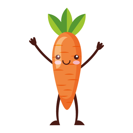 kawaii cute carrot cartoon character vector illustration