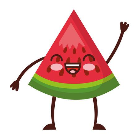 kawaii cute watermelon cartoon character vector illustration Vectores