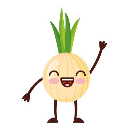 kawaii cute onion cartoon character vector illustration