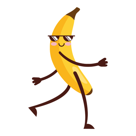 Kawaii cute banane avec des lunettes de soleil cartoon vector illustration
