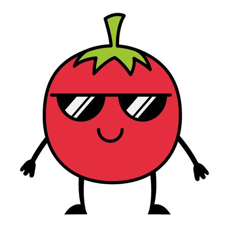 kawaii tomaat met zonnebril cartoon vectorillustratie