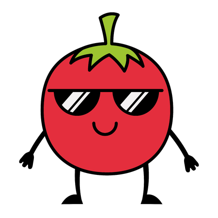 kawaii tomato with sunglasses cartoon vector illustration