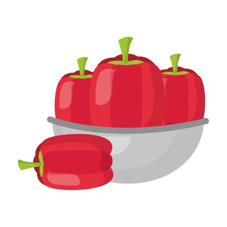 bowl with pepper healthy food vector illustration Standard-Bild - 127213455