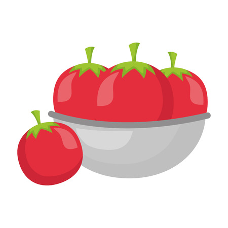 bowl with tomatoes healthy food vector illustration Ilustração