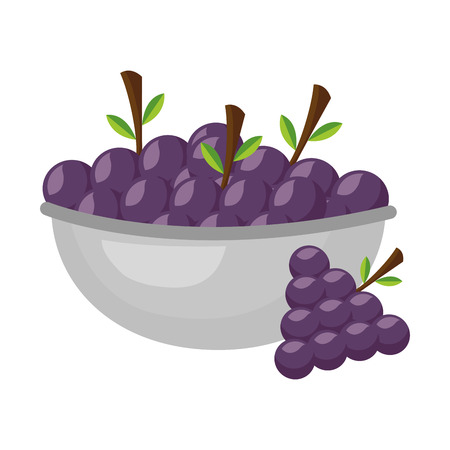bowl with grapes healthy food vector illustration