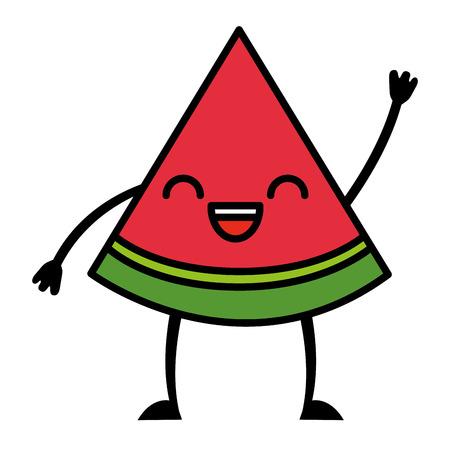 kawaii cute watermelon cartoon character vector illustration Illustration