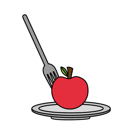 apple with fork and dish healthy food vector illustration