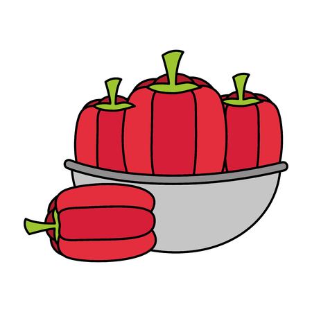 bowl with pepper healthy food vector illustration