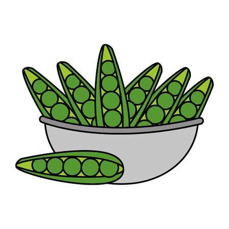 bowl with peas healthy food vector illustration