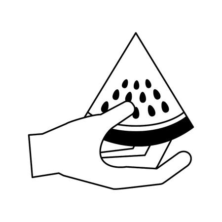 hand holding watermelon healthy food fresh vector illustration 일러스트