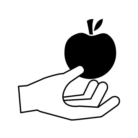 hand holding apple healthy food fresh vector illustration Illustration