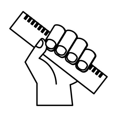 hand holding ruler supply education vector illustration Ilustrace