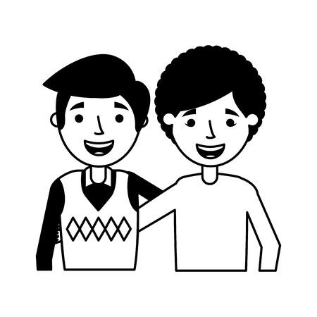 grandmother and grandson embraced family vector illustration Ilustração
