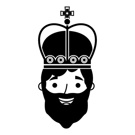 king man with crown character vector illustration