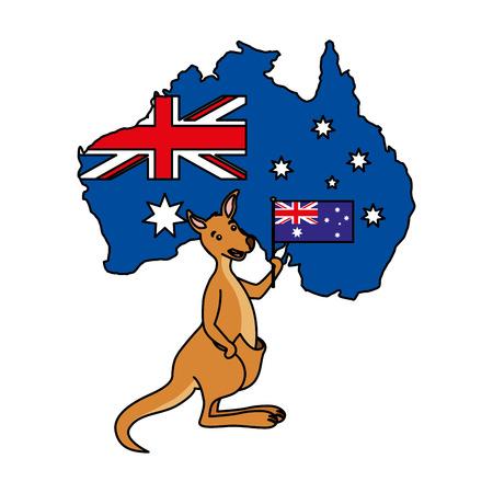 kangaroo with hat australian flag map vector illustration