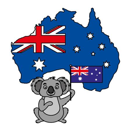 Koala avec chapeau drapeau australien map vector illustration
