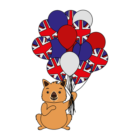 wombat with hat and balloons australian flag vector illustration