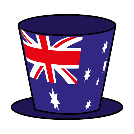 top hat australian flag symbol vector illustration