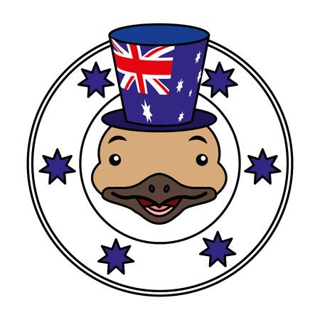 emu hat australian flag emblem vector illustration Ilustracja