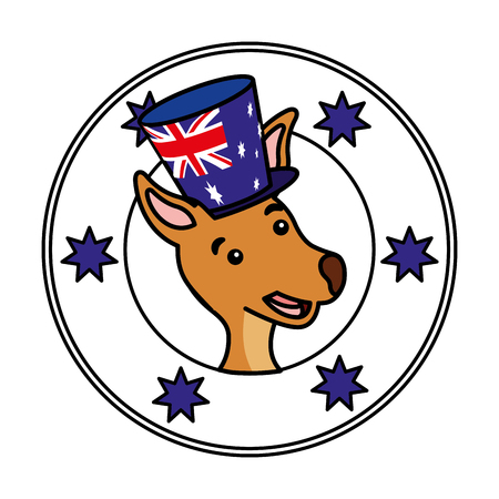 kangaroo hat australian flag emblem vector illustration