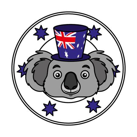 koala hat australian flag emblem vector illustration