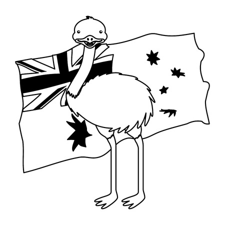 emu with hat australian flag celebration vector illustration