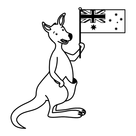 kangaroo with hat australian flag celebration vector illustration