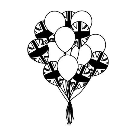 flag australia bunch balloons decoration vector illustration  イラスト・ベクター素材
