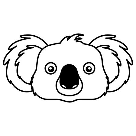 Koala cara fauna australiana fondo blanco ilustración vectorial Ilustración de vector