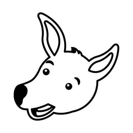 kangaroo face australian wildlife white background vector illustration Ilustracja