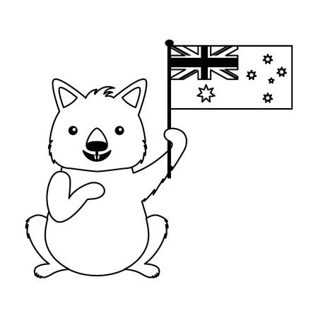 wombat with hat australian flag celebration vector illustration