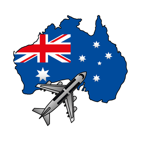australian flag map flying airplane vector illustration Stock Illustratie