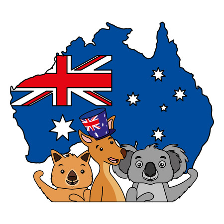 canguro, koala, wombat, y, emu, bandera australiana, mapa, vector, ilustración