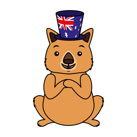 wombat with hat australian celebration vector illustration Vectores
