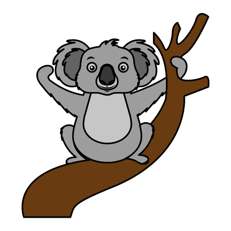 koala animal on the branch vector illustration Imagens - 127122836
