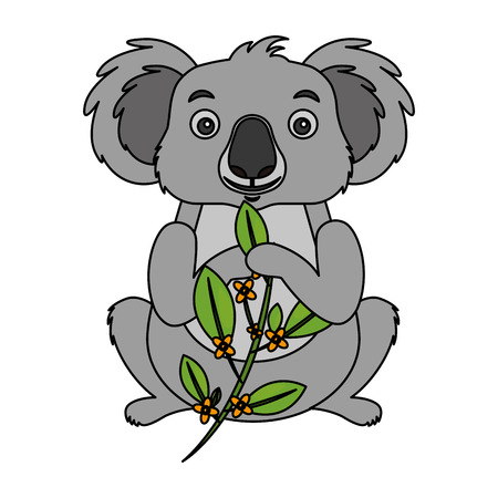 koala eating branch eucalyptus design vector illustration